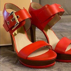 Michael Kors Leather Becca Sandal Platform Heel
